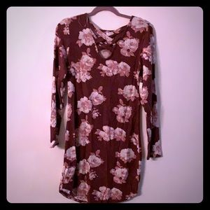 Super soft form fitting dress with flowers